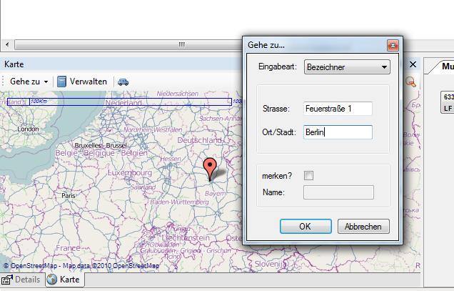 Koordinaten Karte.Kartenfunktion Radio Operator